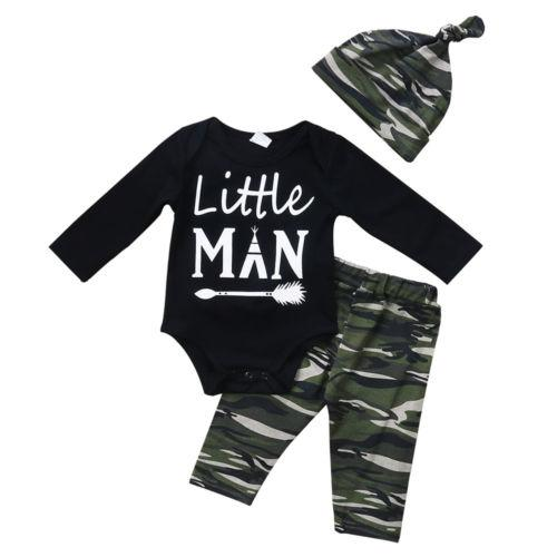 Baby Boy Tops Romper Long Sleeve Pants Hat Cotton Cute 3Pcs Outfitsdresskily-dresskily