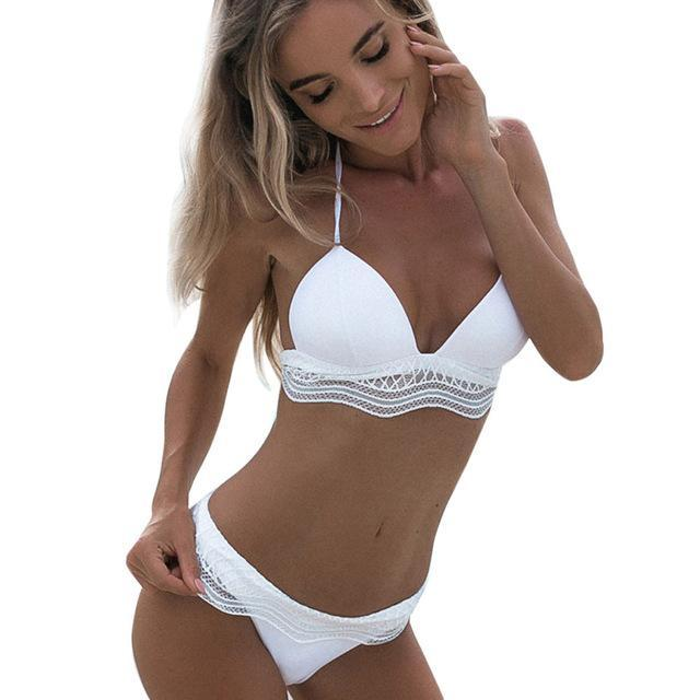 2018 Brief Sets Women Swimwear Bandage Set Push-up Padded Bra Bathingdresskily-dresskily