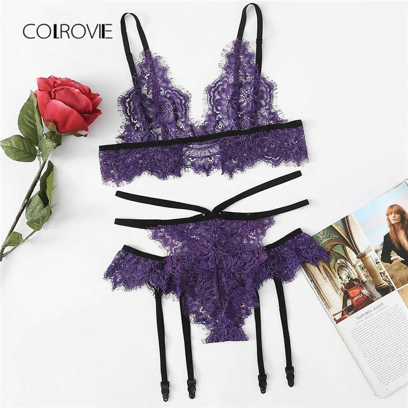 Floral Lace Harness Lingerie Set 2018 New Purple Sheer Women Bradresskily-dresskily