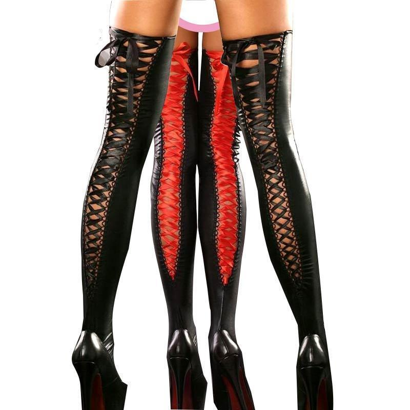 Lady's Black Sexy Latex Stockings Hot Erotic For Underwear Costume Bandage Clubweardresskily-dresskily
