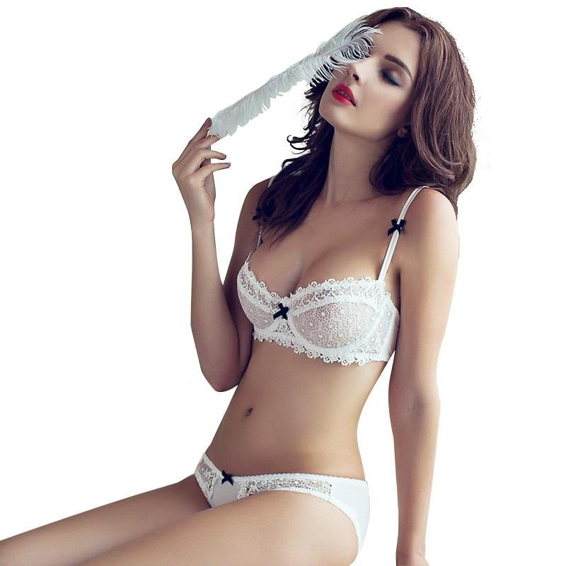 Transparent Unlined Half cup ultra-thin lace sexy bras ladies bra and pantydresskily-dresskily