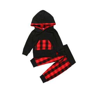 New born Baby Boy Clothes autumn warm black red plaid Hoodiesdresskily-dresskily
