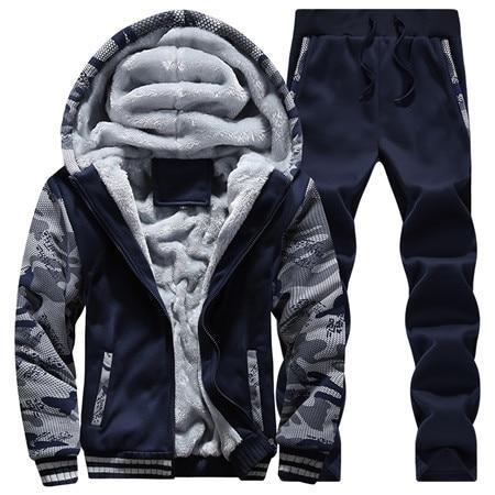 Tracksuit Men Camouflage Army Casual Hooded Warm Sweatshirt Male Winter Thick Innerdresskily-dresskily