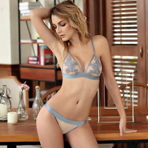 Embroidery Floral Lace Bralette Set Women Seamless Bra And Panty Sexydresskily-dresskily