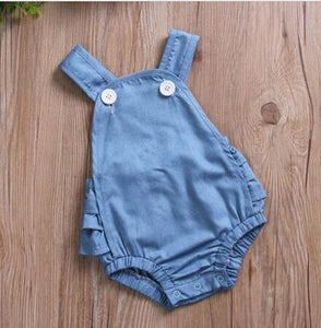 Blue Denim Ruffle Baby Romper Newborn Infant Baby Girls Romper Sleeveless Simpledresskily-dresskily
