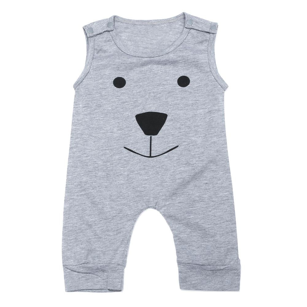 New Infant Boy Clothes Baby Romper Summer Sleeveless Soft Cartoon Bear Printeddresskily-dresskily
