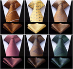 "Men Fashion US shipping Check Plaid Stripe 3.4"" Silk Tie set partydresskily-dresskily"