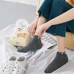 New Style Hot Sale Women's Cotton Lovely Shiny Pearl Socks Casual Ladiesdresskily-dresskily