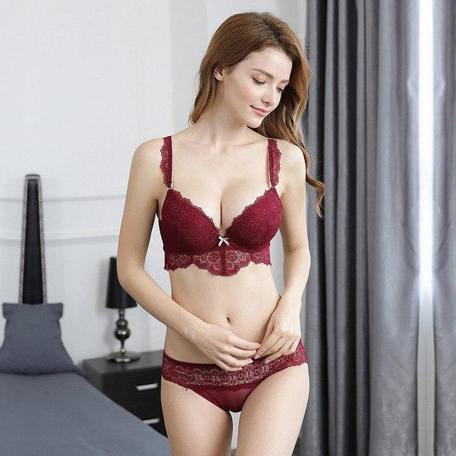 Femal Intimates Floral Lace Sexy Lingerie Set Hollow Out Back Underwear Womendresskily-dresskily