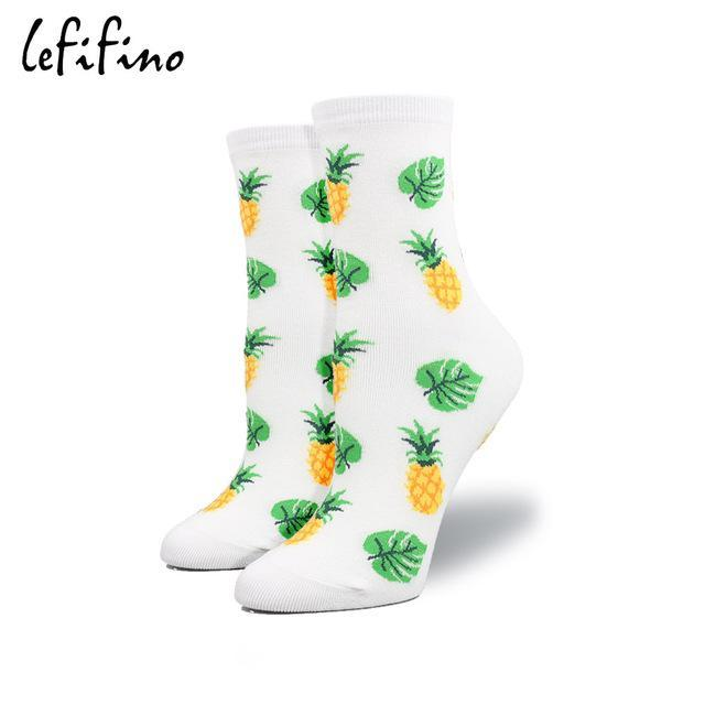 Korean Creative Women Socks Cotton White Socks Pizza Egg Pig Banana Avocadodresskily-dresskily