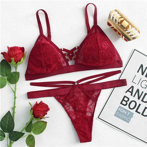 Ring Detail Lace Lingerie Set 2018 New Summer Red Sexy Bradresskily-dresskily