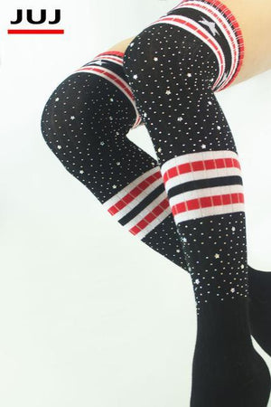 2018Women Fashion Winter Boots Cuff Socks Autumn Red Striped USA Star Ladiesdresskily-dresskily