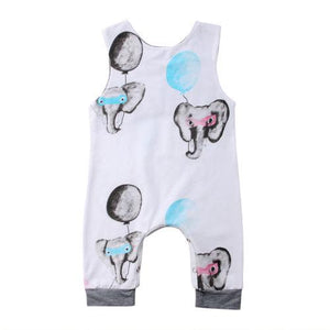 Newborn Baby Boy Girls Elephant Romper Sleeveless Jumpsuit Outfits Sunsuit Clothesdresskily-dresskily