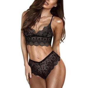 Sexy Flowers Lace Cross lace bra women lingerie Lace edge deep vdresskily-dresskily