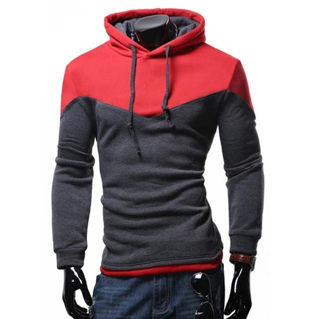 Dropshipping Men's Hoodies Patchwork Two Colors Napping Casual Sweatshirt Men Hooded Tracksuitdresskily-dresskily