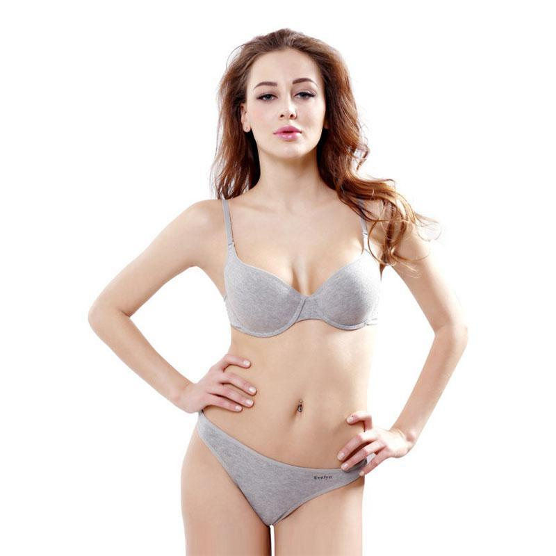 women intimates gray Cotton underwear Top quality bra and panty setdresskily-dresskily