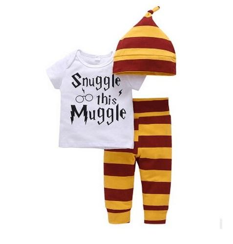 Newborn baby boy girls clothes set Snuggle This Muggle T-shirt+striped pants+hat Childrendresskily-dresskily