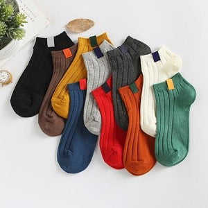 2018 women's socks 5 pair socks short invisible cotton solid color womendresskily-dresskily