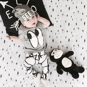 New 2018 fashion baby boy clothes cotton cartoon short-sleeved t-shirt+pants infant clothesdresskily-dresskily