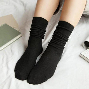 New Autumn Solid Socks For Women Knitted Stretchy Orange Sokken Female Cottondresskily-dresskily