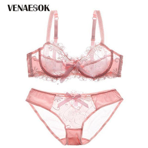 New Embroidery Blue Underwear Set Women Lace Lingerie Bra and Panty Setsdresskily-dresskily