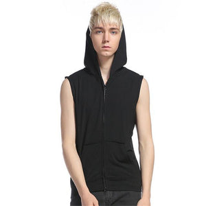 With Pockets Sleeveless Hoodies Men Zipper Up Off Shoulder Summer Sweatshirts 2017dresskily-dresskily