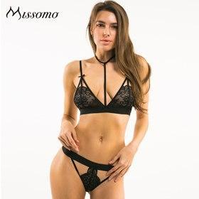 Missomo 2018 New Fashion Women Black Sexy Lace Bralette Bow Cut Outdresskily-dresskily