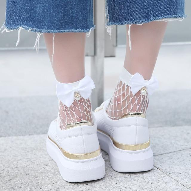 Chic Ladies Fishnet socks heel with Bow Pearls Women's Funny Harajuku Breathabledresskily-dresskily
