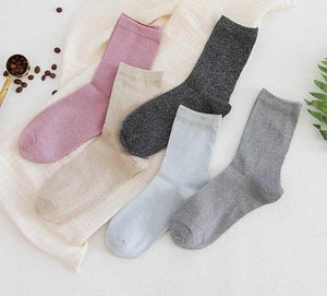 []European Design 6 Color Socks Shiny Edge Gold Silver Silk Lace Sexydresskily-dresskily
