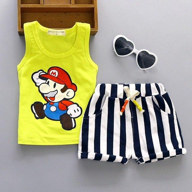 Baby Boy Clothes 2017 Summer Brand Sleeveless Tops Vest + Striped Shortsdresskily-dresskily