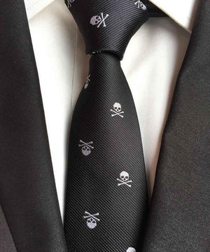 Fashion Skinny Ties Hot Men Casual Party Necktie Black with Horrible Whitedresskily-dresskily
