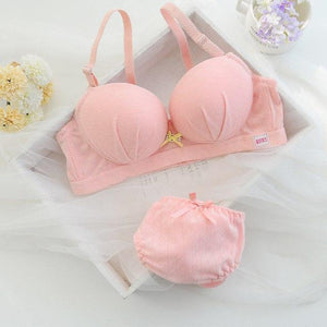 new cotton women's sexy bra brief set flower lace bra 3/4dresskily-dresskily