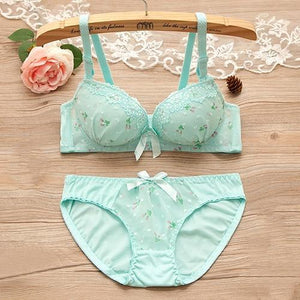 Floral Print Lace Underwear Bra Set Push Up Floral Printed 3/4 Cupdresskily-dresskily