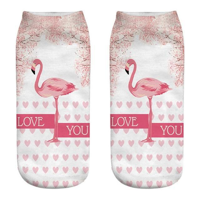 3D Printing Socks Women Brand Sock 2018 New Fashion Flamingo Girls Socksdresskily-dresskily