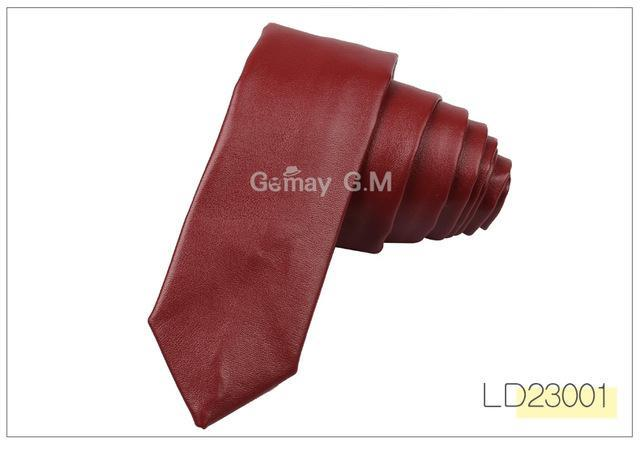New PU Leather Ties For Men Casual PU Neckties Fashion Solid Mensdresskily-dresskily