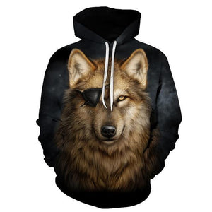 One Eyed Wolf Hoodies 3D Men Sweatshirts Cool Pullover Animal Hoodie Fashiondresskily-dresskily