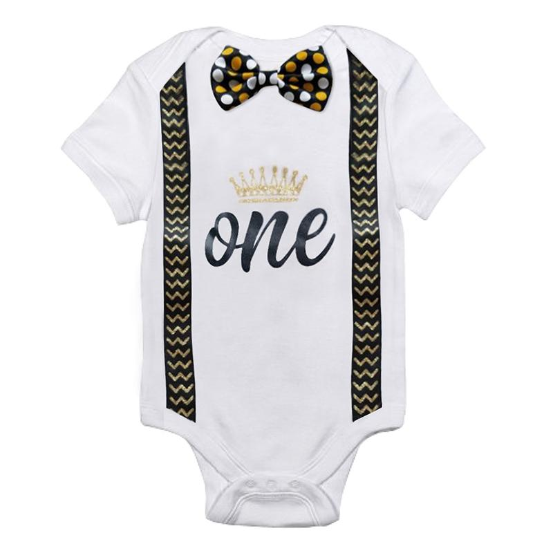 Infant Baby Boys Short Sleeves Number 1 First Birthday Romper Newborn Babydresskily-dresskily