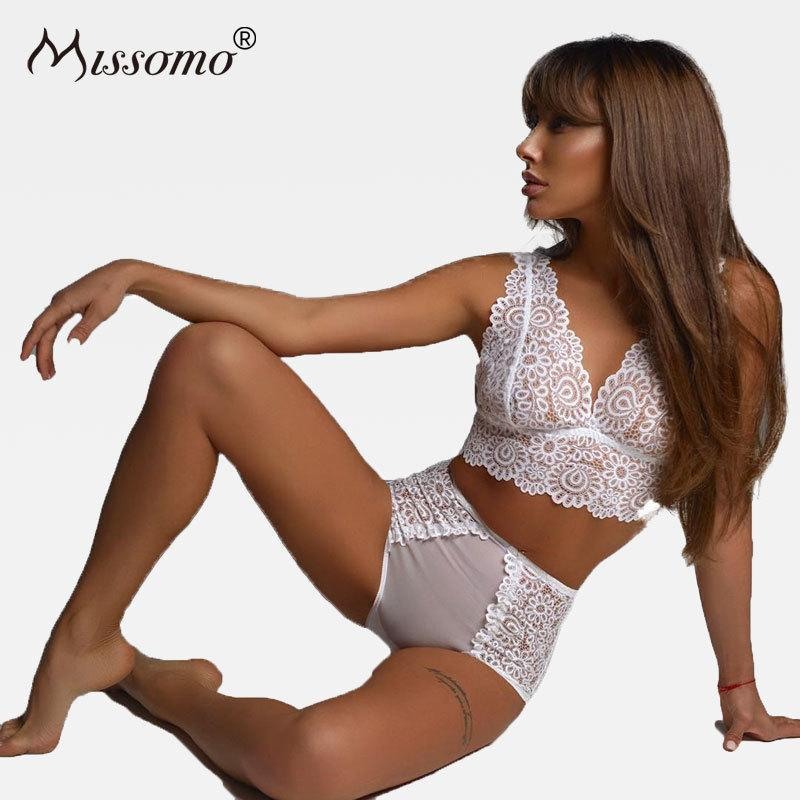 Missomo Women Lace Mesh Perspective Bra Sets Seamless Female Fashion Lingerie Sexydresskily-dresskily