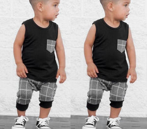 Baby Boy Clothes Infant Baby Boys Girl Plaid Tops T-Shirt Vestdresskily-dresskily