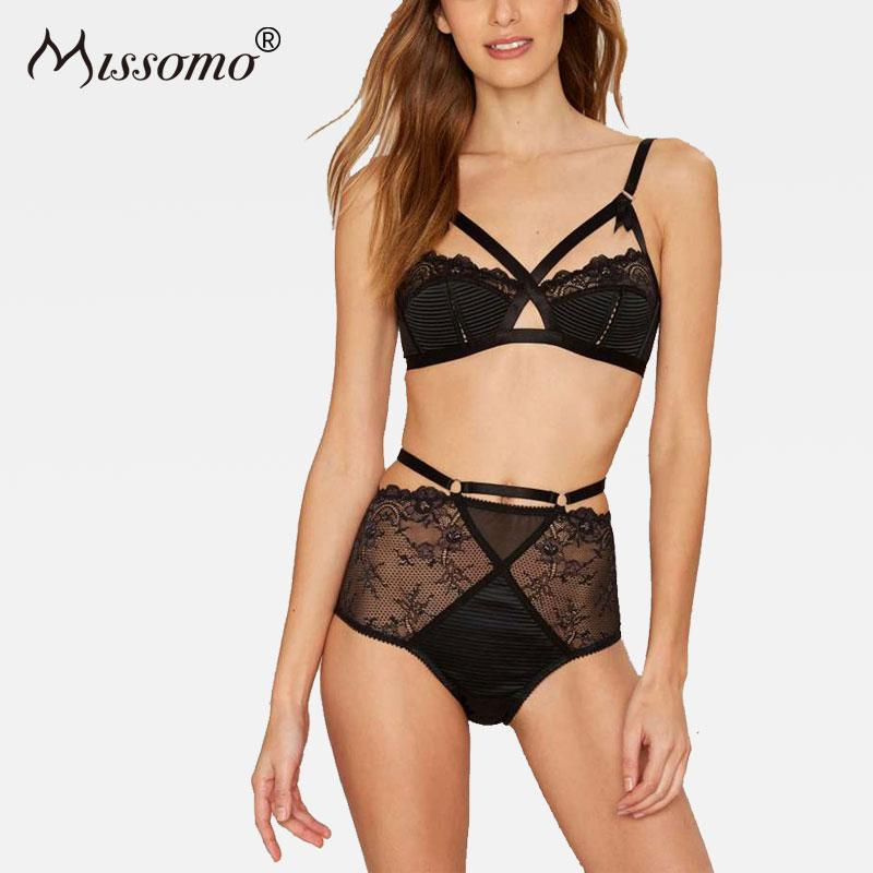 Missomo Women Black Sexy Push Up Lace Hollow Stitching Wireless Bralettes Trimdresskily-dresskily