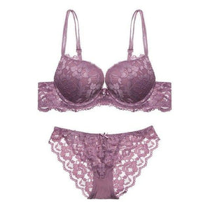 Sexy Hollow Out Lace Underwear Push Up Bra Set Women Wire Freedresskily-dresskily
