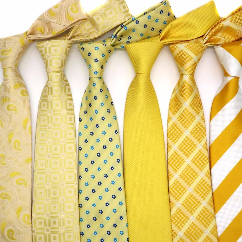 Yellow Classic 100% Silk Mens Ties Various Patter Neckties 8cm Ties Orangedresskily-dresskily