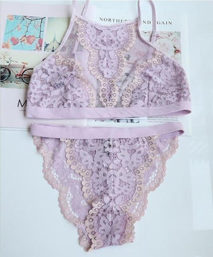full lace underwear women set sexy ultrathin embroidery intimate lingerie comfort underweardresskily-dresskily