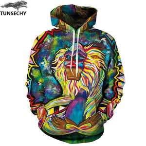 Graffiti Rasta Monkey Elder Meditation Rafiki Hoodie Men women 3d Sweatshirts Wizarddresskily-dresskily
