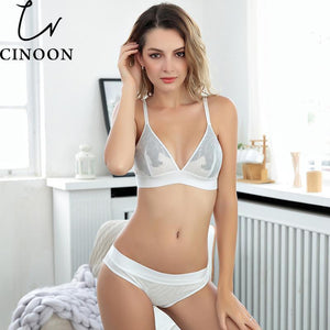 Women sexy underwear bra embroidery lingerie set thin lace bra transparentdresskily-dresskily