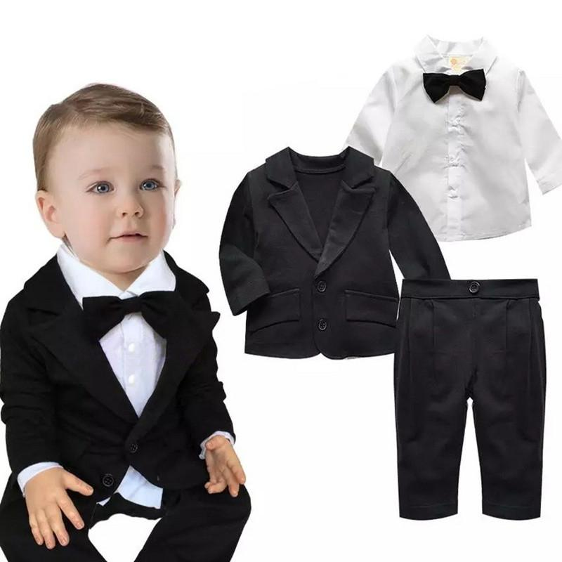 Baby Boys Sets Infant Long Sleeve Autumn Clothes Coat+Pants+T-shirt 3 Piece Suitdresskily-dresskily