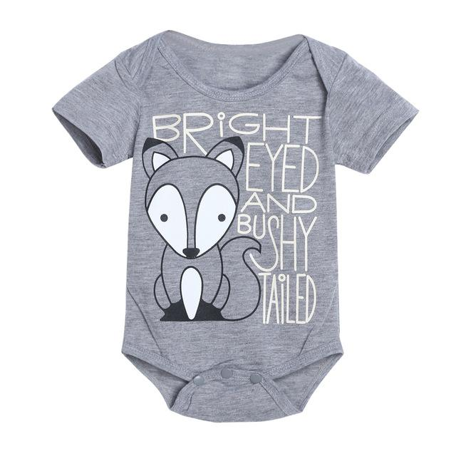 Toddlers Fox Print Bodysuit Summer Baby Infant Newborns Short Sleeve O-neckdresskily-dresskily
