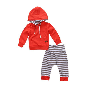 Newborn Infant Baby Boy Long Sleeve Hooded Sweatshirt Kangaroo Pocket +Stripe Pantsdresskily-dresskily