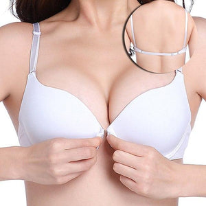 MINGMO Shoulder strap glossy solid front button bra cover back adjustable smalldresskily-dresskily