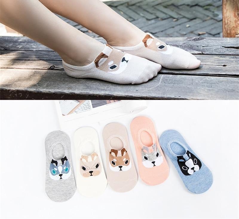 2018 New Fashion Cute Animal Cotton Socks Female Kawaii Dog Summer Shortdresskily-dresskily